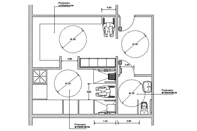 Bloque Baño Adaptado:bloques Cad, Autocad, arquitectura, download, 2d, 3d, dwg, 3ds
